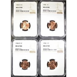 1984, 84-D, 85 & 85-D LINCOLN CENTS, NGC MS-67 RED