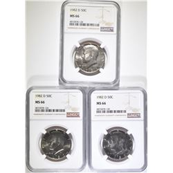 3-1982-D KENNEDY HALF DOLLARS, NGC MS-66