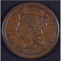 1848 BRAIDED HAIR LARGE CENT XF