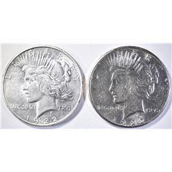 1922-D & S PEACE DOLLARS