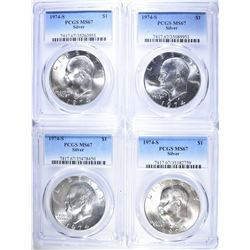 4-1974-S SILVER EISENHOWER DOLLARS, PCGS MS-67