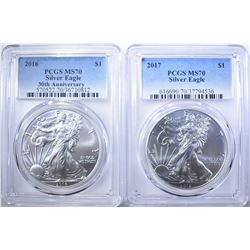2016 & 17 AMERICAN SILVER EAGLES, PCGS MS-70