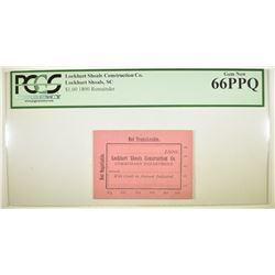 $1.00 COMMISSISARY SCRIP PCGS 66 PPQ