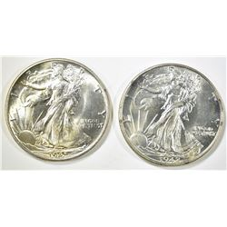 1942 & 45 WALKING LIBERTY HALF DOLLARS CH BU