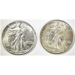 1943-P,D WALKING LIBERTY HALF DOLLARS CH BU