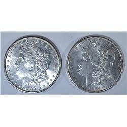 1884 & 89 MORGAN DOLLARS, CH BU