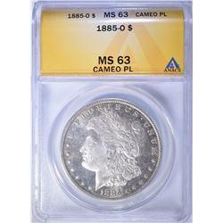 1885-O MORGAN DOLLAR ANACS 63 CAMEO PL