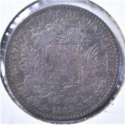 1893A SILVER 1 BOLIVAR VENEZUELA CH XF/AU