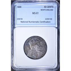 1909 SILVER 50 CENT NEWFOUNDLAND  NNC CH BU