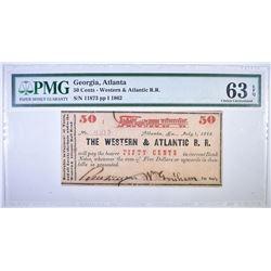 1862 50 CENT #11873 WESTERN & ATLANTIC RR
