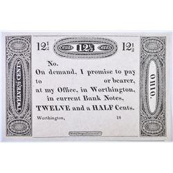 1810-20S 12.5 CENTS  WORTHINGTON, OH  GEM CU
