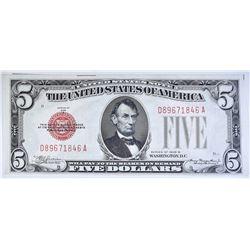 1928B $5 LEGAL TENDER RED SEAL FR 1527
