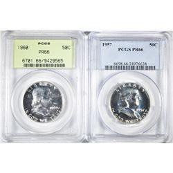 1957 & 60 FRANKLIN HALF DOLLARS PCGS PR-66
