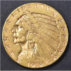 1912-S $5 GOLD INDIAN CH AU