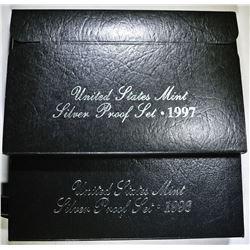 1997 & 98 U.S. SILVER PROOF SETS ORIG PACKAGING