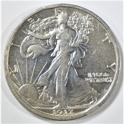 1917 WALKING LIBERTY HALF DOLLAR XF/AU