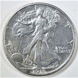 1918 WALKING LIBERTY HALF DOLLAR AU