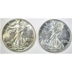 1936 & 37 WALKING LIBERTY HALF DOLLARS CH BU