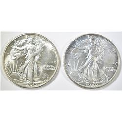 1940 & 42 WALKING LIBERTY HALF DOLLARS CH BU