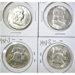 4-1951-S FRANKLIN HALF DOLLARS, BU