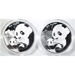2-2019 CHINESE 1oz SILVER PANDA COINS