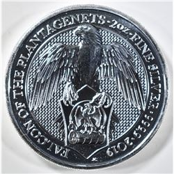 2019 2oz SILVER QUEENS BEAST FALCON COIN
