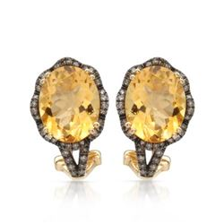 14k Yellow Gold  4.60CTW Citrine and Brown Diamonds Earring