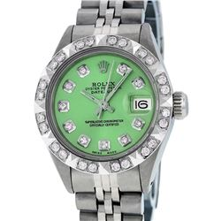 Rolex Ladies Stainless Steel Green Pyramid Diamond Datejust Wristwatch