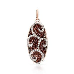 14k White/rose Gold 0.73CTW Diamond and Brown Diamonds Pendant, (SI2-SI3/Gold)