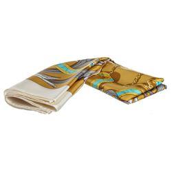 "Hermes Gold Multicolor Silk Le Mors ""A La Conetable"" Scarf"