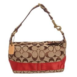 Coach Brown Monogram Canvas Leather Trim Mini Baguette Handbag