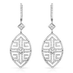 18k White Gold 3.07CTW Diamond Earring, (VS1-VS2/SI1-SI2/H-I/G-H)