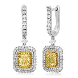 18k Two Tone Gold 3.00CTW Diamond Earring, (VS1/G/Fancy Yellow)