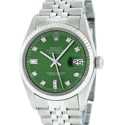Rolex Mens Stainless Green Diamond 36MM Datejust Wristwatch