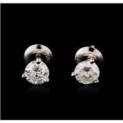 14KT White Gold 1.03 ctw Diamond Stud Earrings