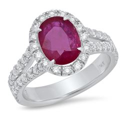 14K Yellow Gold 2.25CTW Ruby Ring, (SI2)