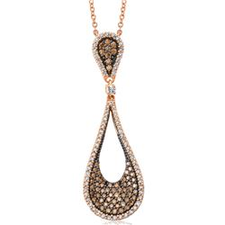 14k Rose Gold 1.18CTW Brown Diamonds and Diamond Pendant, (I1/SI3/H/Dark Brown)