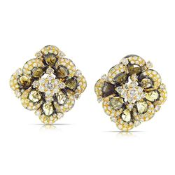 18k Two Tone Gold  6.95CTW Diamond and Sliced Dia Earring