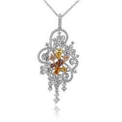 18k Three Tone Gold 3.10CTW Multicolor Dia, Pink Diamond and Diamond Pendant, (V