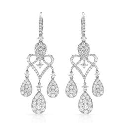 18k White Gold 3.93CTW Diamond Earring, (VS2/G)