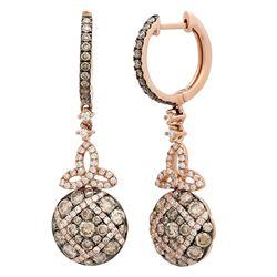 14k Rose Gold 1.65CTW Diamond and Brown Diamonds Earring, (VS-SI1/F-G)
