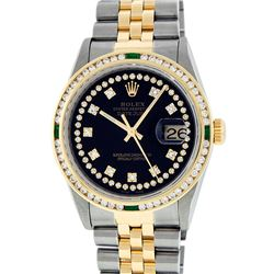 Rolex Mens 2 Tone 14K Black String Diamond & Emerald Datejust Wristwatch
