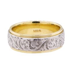 Two Tone Hand Engraved Band - 14KT Yellow and White Gold