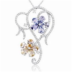 18k White Gold 5.71CTW Diamond and Multi Color Pendant, (SI2-SI3/H-I)