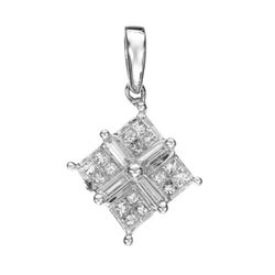 14k White Gold  0.46CTW Diamond Pendant