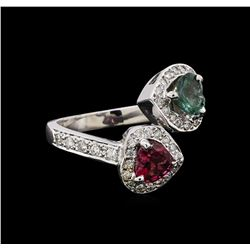 1.24 ctw Tourmaline and Diamond Ring - 14KT White Gold