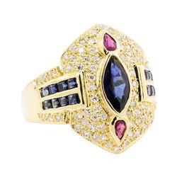 1.60 ctw Sapphire, Ruby and Diamond Ring - 18KT Yellow Gold