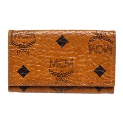 MCM Tan Cognac Canvas Leather 4 Key Holder