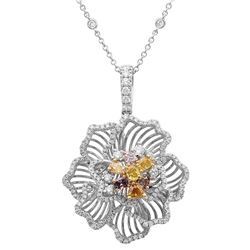 18k Three Tone Gold 1.95CTW Diamond and Pink Diamond and Multicolor Dia Pendant,