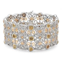 14k Gold 15.91CTW Diamond Bracelet, (VS2-SI1/F-G/Fancy Color)